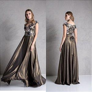vestido longo setin cobre