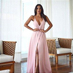 vestido longo rose fluido