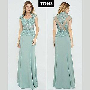vestido longo tiffany com renda