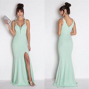 vestido longo decote fenda aquamarine