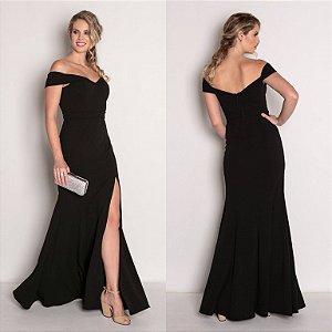 vestido longo preto decote bela