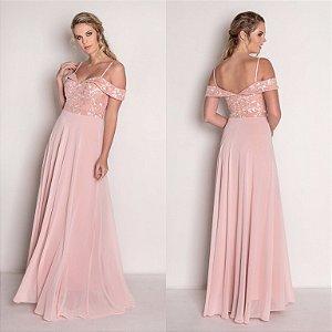 vestido longo rosé saia rodada