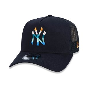 Boné New Era 940 New York Yankees Preto Logo Colorida - Snapback