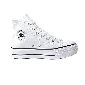 Tênis Converse Chuck Taylor All Star Hi Plataforma Couro - Branco/Preto