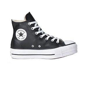 Tênis Converse Chuck Taylor All Star Plataforma Hi Couro - Preto/Preto