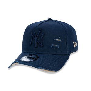 Boné New Era 940 New York Yankees Destroyed Aba Curva - Marinho