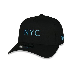 Boné New Era 940 New York City Logo Azul Aba Curva - Preto