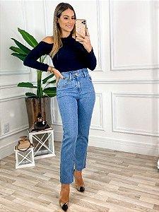 Jeans Mom Cós Arredondado
