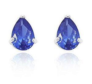 Brinco Gota Cristal Azul