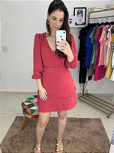 Vestido Camadas Manga Longa