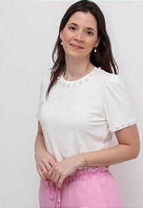 Blusa Malha Canelada Pérolas - Cores