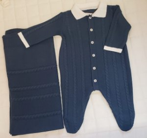 Saida De Maternidade  Tricot - Azul M1