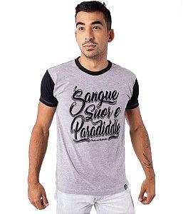 Camiseta Sangue, Suor e Paradiddle Preta e Cinza