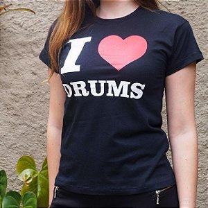Baby Look I Love Drums Preta