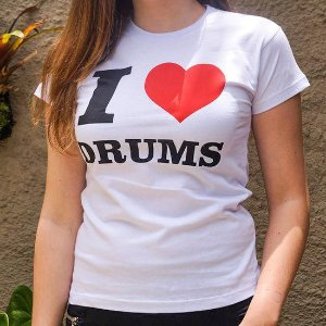 Baby Look I Love Drums Branca