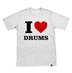 Camiseta I Love Drums Branca Masculina