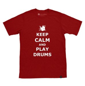 Camiseta Keep Calm And Play Drums Vinho