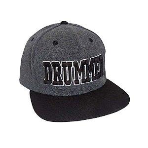 Boné Drummer Aba Reta Chumbo Mescla e Preto