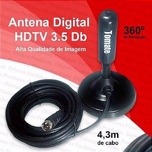 Antena Interna externa Tv digital Hdtv 3.5 Dbi Cabo C/4.3 M