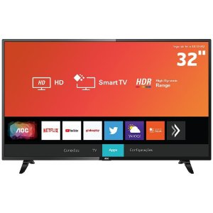 "Smart TV LED 32"" HD AOC 32S5295/78G com HDR, Wi-Fi, Miracast, Botão Netflix e YouTube HDMI USB"