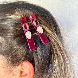 Hair Clips Victória Pedras Fúcsia