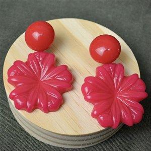 Brinco Botão Flor Rosa