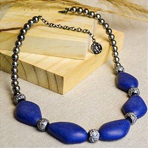 Colar De Resina Marmorizada Azul