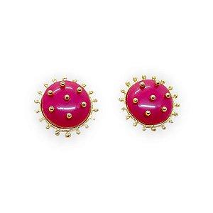 Brinco Botão Bolinhas Douradas Pink