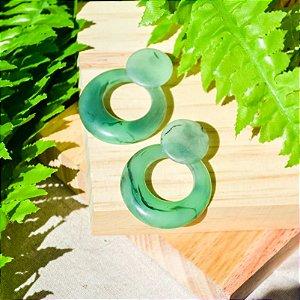 Brinco de Resina Circulo Vazado Médio - Verde Mescla