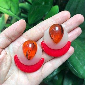 Brinco Três Resinas Pequeno Laranja Nude e Vermelho