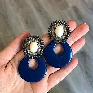 Brinco Diva Resina Azul com Pedra e Strass