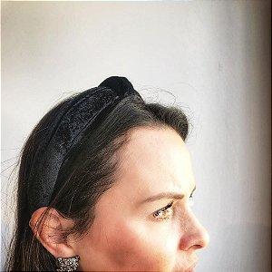 Tiara Turbante Nó Veludo Alemão Preto