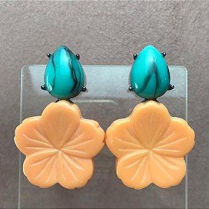 Brinco Gota Azul Turquesa Rajado e Flor em Resina Laranja Coral