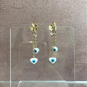 Brinco Dourado com Dois Olhos Gregos e Cristal Pendurados em Formato de Coração