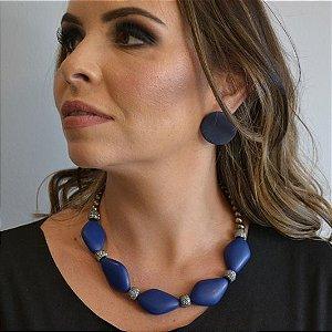 Colar de Resina Desalinhada Azul Fosca Com Rosca de Strass e Bolinhas Grafite Camila Vanni