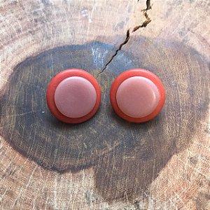 Brinco de Botão em Laranja Queimado e Nude Camila Vanni