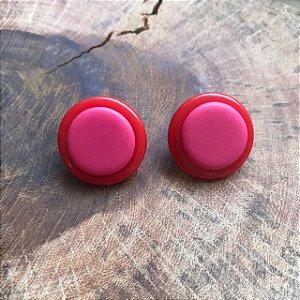 Brinco de Botão em Vermelho e Pink  Camila Vanni