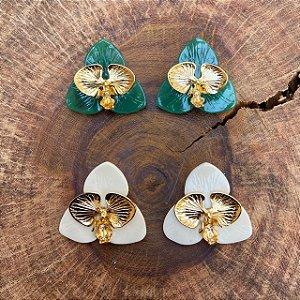Brinco Orquídea Metal Resina