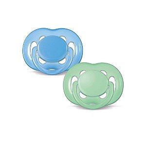 Chupeta Freeflow Ortodôntica 6-18 meses Azul e Verde ( Embalagem com 2 unidades) - Philips Avent
