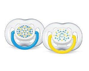 Chupetas FreeFlow Contemporânea 6-18 meses (embalagem com 2 unidades amarela e azul) - Philips Avent