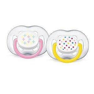 Chupetas FreeFlow Contemporânea 6-18 meses (embalagem com 2 unidades amarela e rosa) - Philips Avent