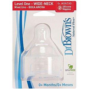 2 Bicos de silicone Fase 1 - (Furo Pequeno - pouco fluxo) - Dr. Brown's