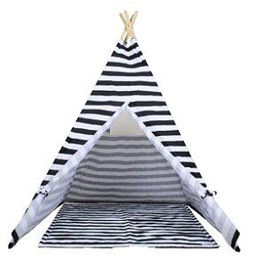 Cabana Listrada Preta c/ Tapete - Hello Foxy