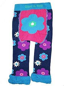 Meia Calça Legging Infantil Flor Azul - Blade and Rose