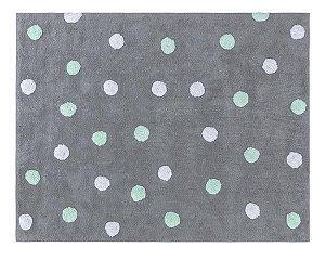 Tapete Infantil Multidots Cinza com Bolas Verde e Branco  - Nina & Co.