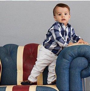 Camisa Body Baby Xadrez Azul - Dudes