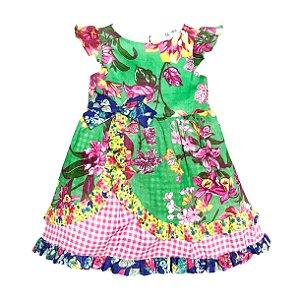 Vestido Junino Flores Verde - Té Confecções