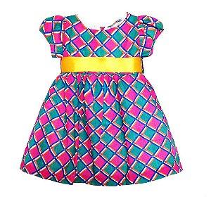 Vestido de festa Junina Xadrez Rosa - Té Confecções