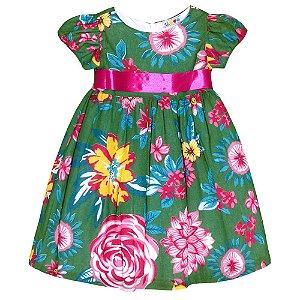 Vestido Floral Verde São João - Té Confecções