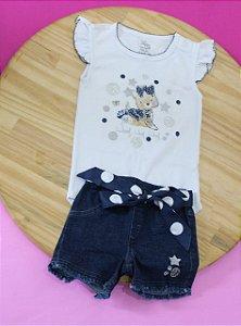 Conjunto Anjos Baby - Body + Bermuda Jeans